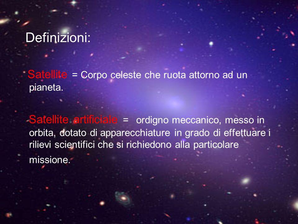Definizioni: Satellite = Corpo celeste che ruota attorno ad un pianeta.