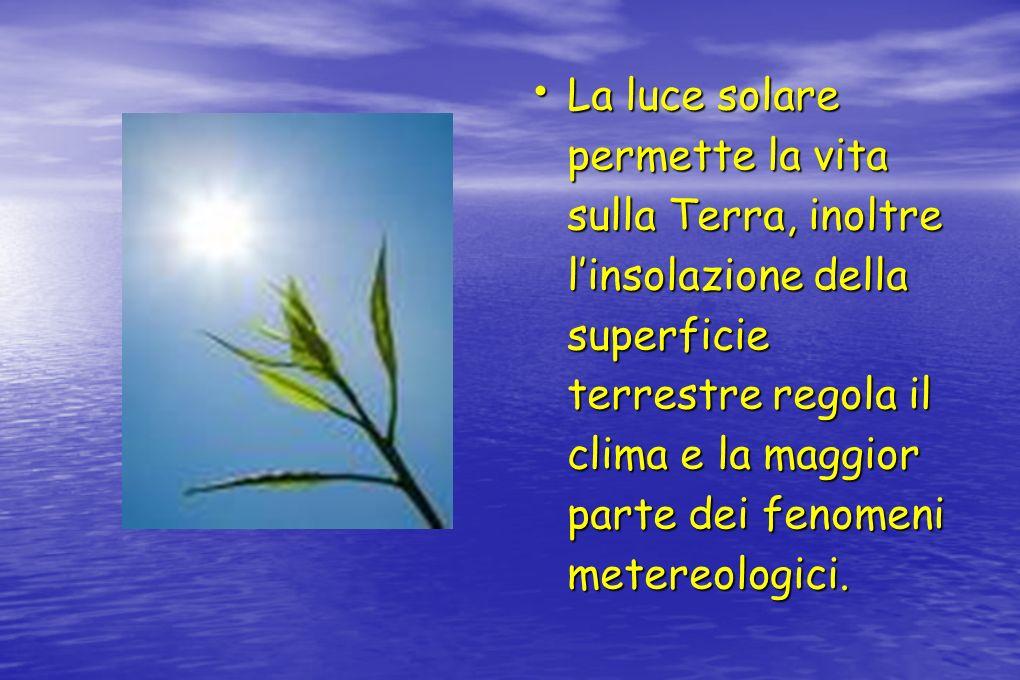 La luce solare permette la vita sulla Terra, inoltre l'insolazione della superficie terrestre regola il clima e la maggior parte dei fenomeni metereologici.