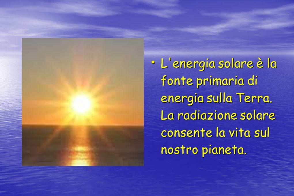 L energia solare è la fonte primaria di energia sulla Terra