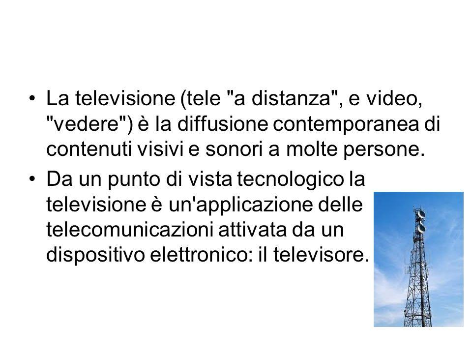 La televisione (tele a distanza , e video, vedere ) è la diffusione contemporanea di contenuti visivi e sonori a molte persone.