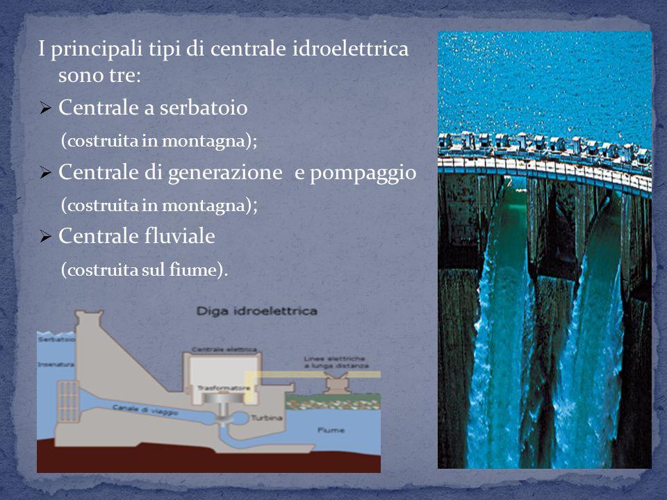 I principali tipi di centrale idroelettrica sono tre:
