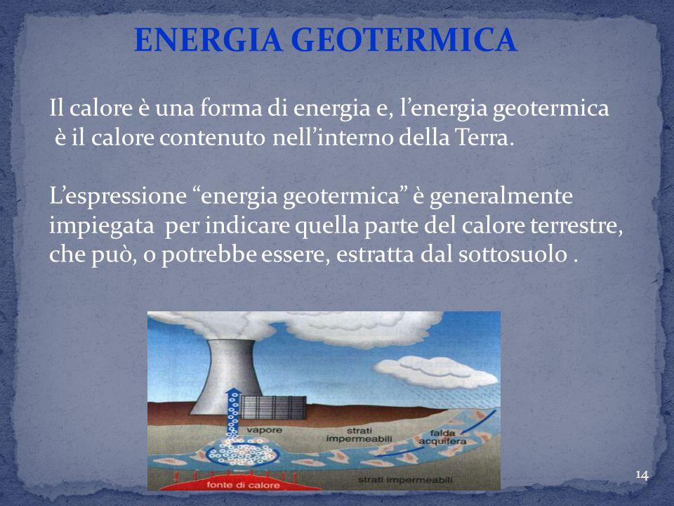 ENERGIA GEOTERMICA Il calore è una forma di energia e, l'energia geotermica. è il calore contenuto nell'interno della Terra.