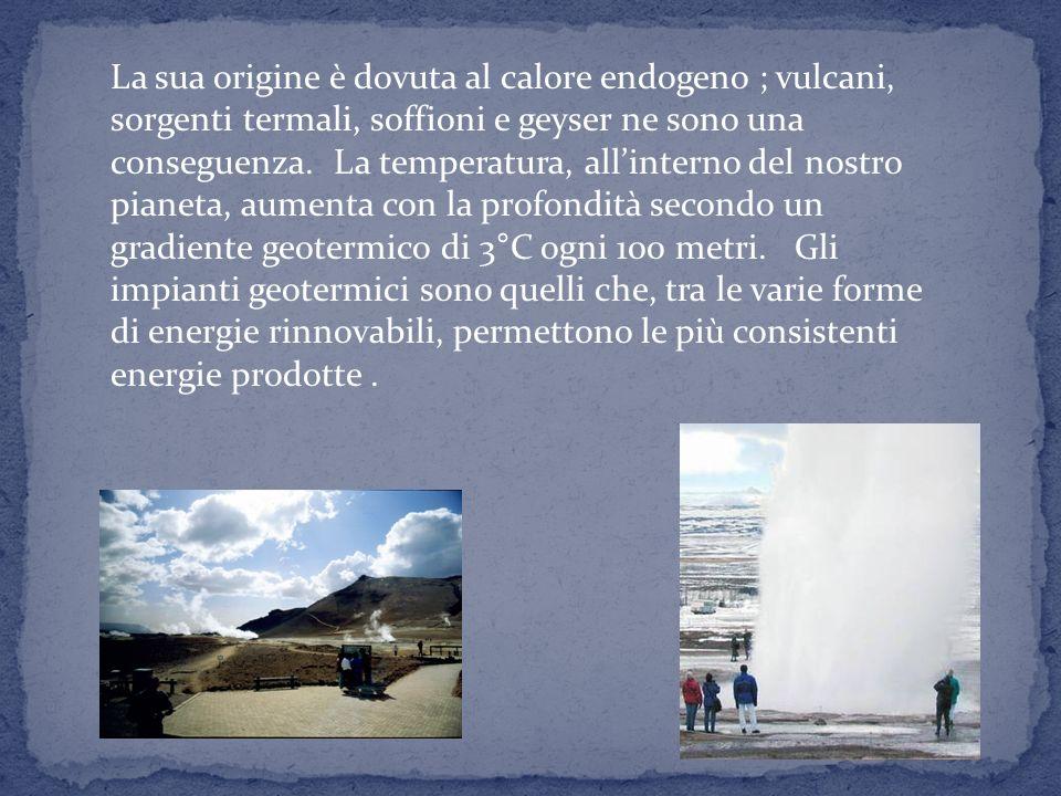 La sua origine è dovuta al calore endogeno ; vulcani, sorgenti termali, soffioni e geyser ne sono una conseguenza.
