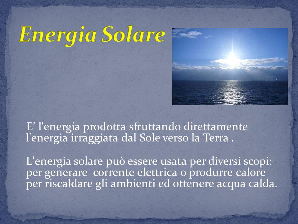 Energia Solare E' l energia prodotta sfruttando direttamente l energia irraggiata dal Sole verso la Terra .