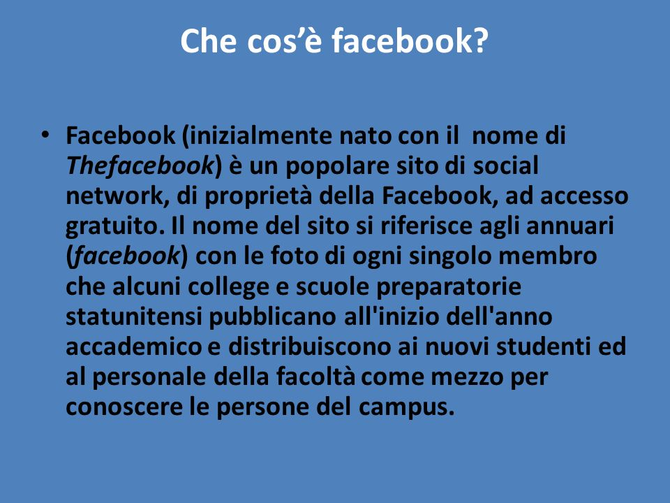 Che cos'è facebook