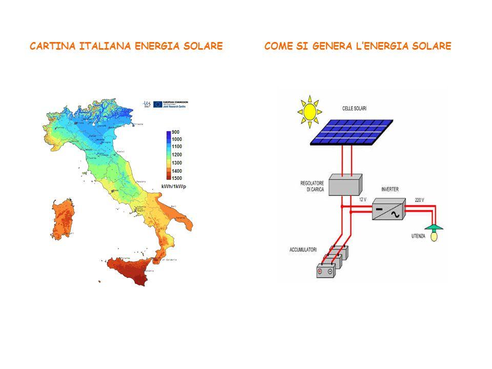 CARTINA ITALIANA ENERGIA SOLARE COME SI GENERA L'ENERGIA SOLARE