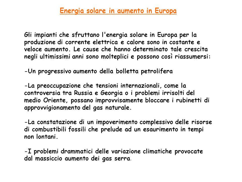 Energia solare in aumento in Europa