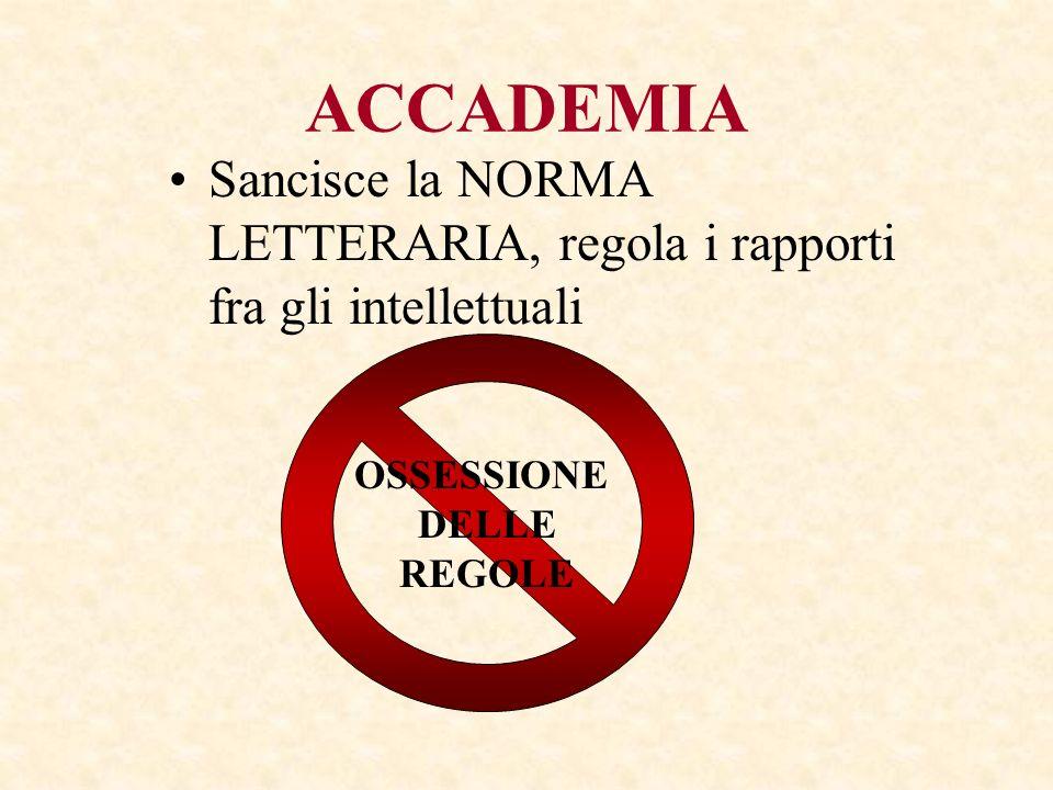 ACCADEMIA Sancisce la NORMA LETTERARIA, regola i rapporti fra gli intellettuali. OSSESSIONE. DELLE.