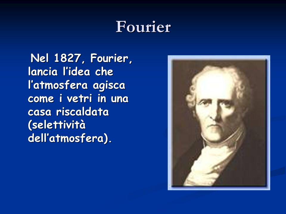Fourier Nel 1827, Fourier, lancia l'idea che l'atmosfera agisca come i vetri in una casa riscaldata (selettività dell'atmosfera).