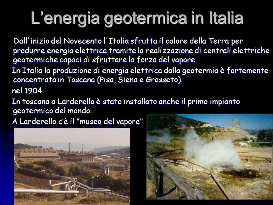 L'energia geotermica in Italia