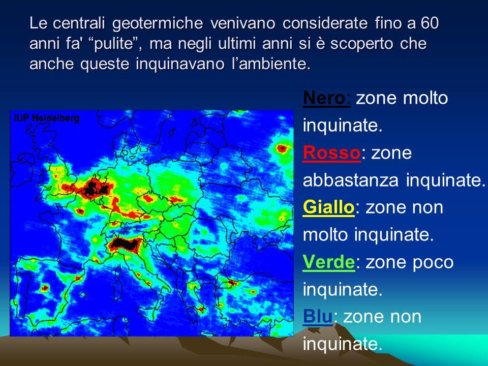 Nero: zone molto inquinate. Rosso: zone abbastanza inquinate.
