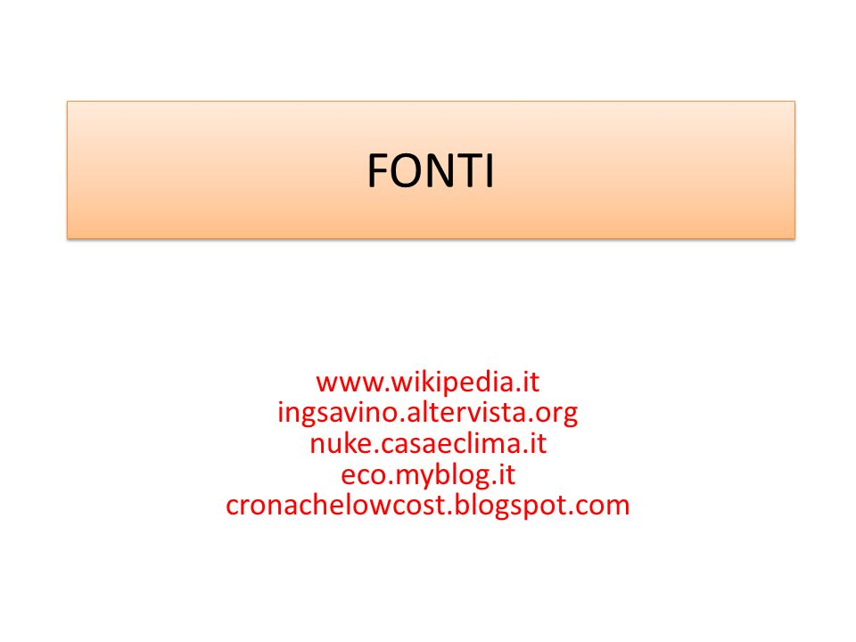 FONTIwww.wikipedia.it ingsavino.altervista.org nuke.casaeclima.it eco.myblog.it cronachelowcost.blogspot.com.