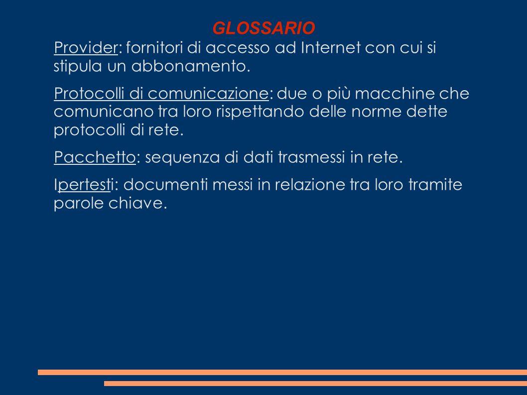 GLOSSARIO Provider: fornitori di accesso ad Internet con cui si stipula un abbonamento.