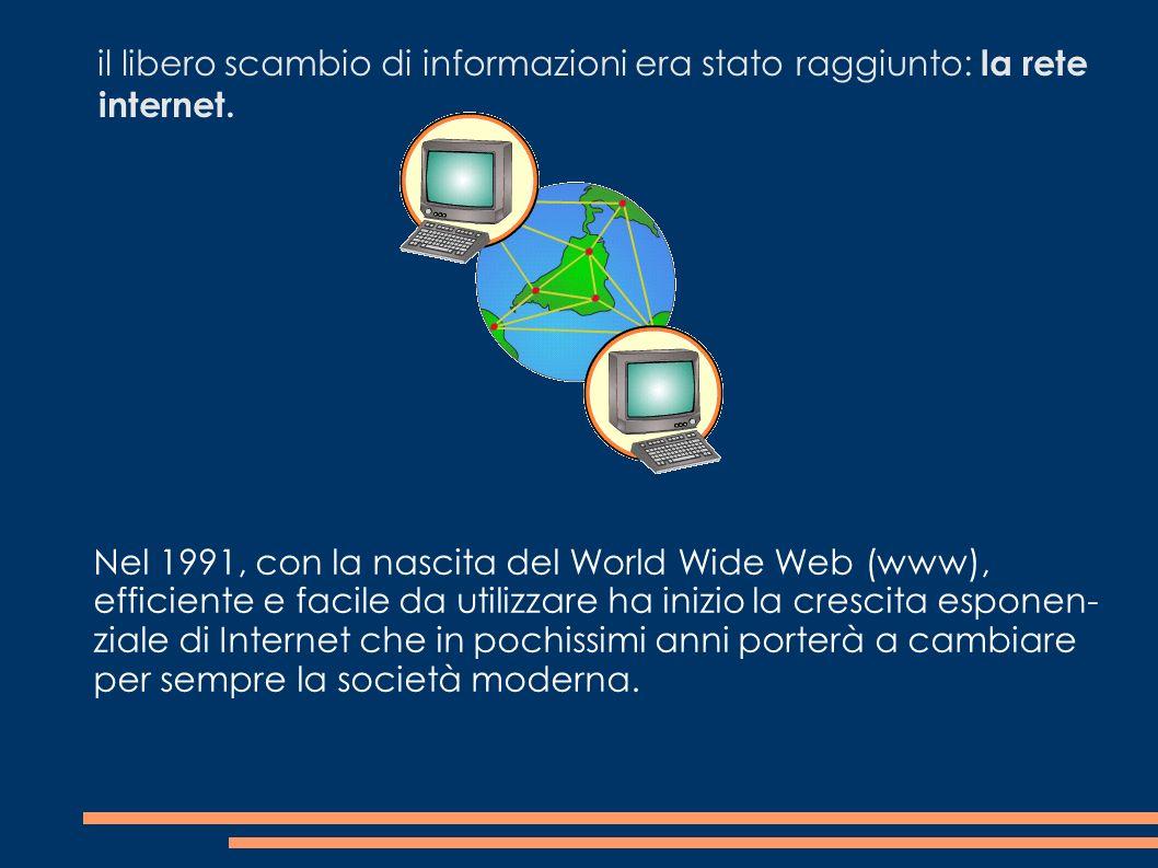 il libero scambio di informazioni era stato raggiunto: la rete internet.
