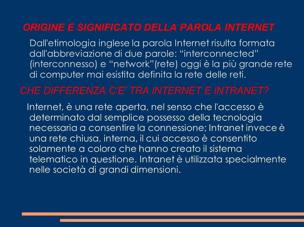 ORIGINE E SIGNIFICATO DELLA PAROLA INTERNET