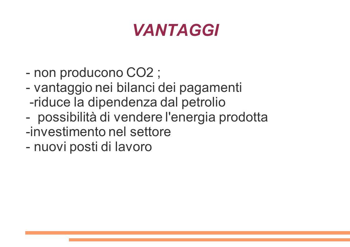 VANTAGGI - non producono CO2 ; - vantaggio nei bilanci dei pagamenti