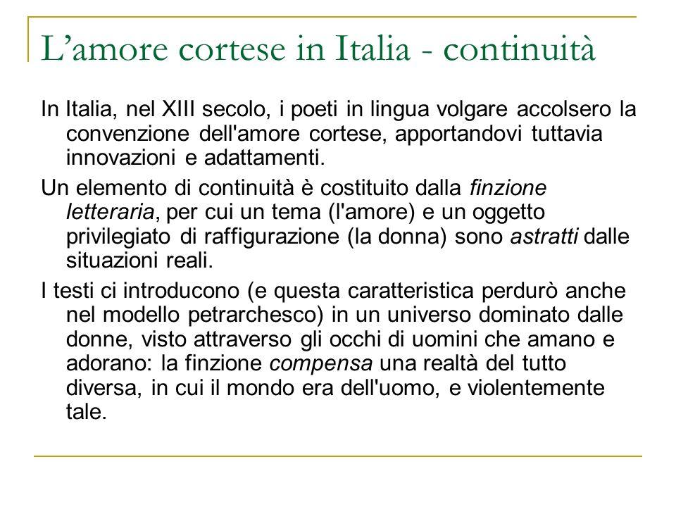 L'amore cortese in Italia - continuità