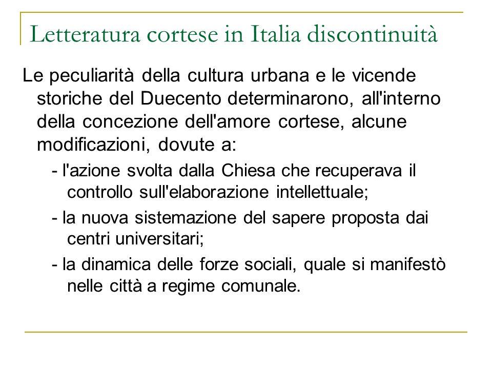Letteratura cortese in Italia discontinuità