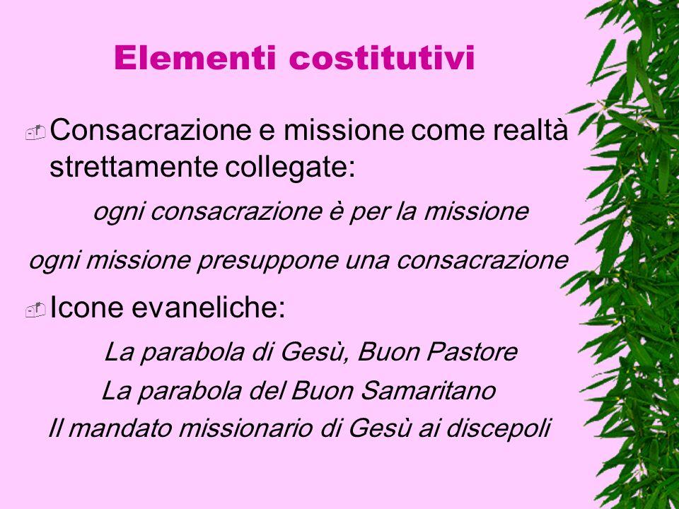 Elementi costitutivi Consacrazione e missione come realtà strettamente collegate: ogni consacrazione è per la missione.
