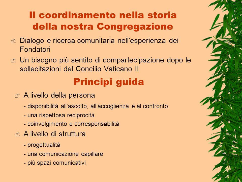 Il coordinamento nella storia della nostra Congregazione