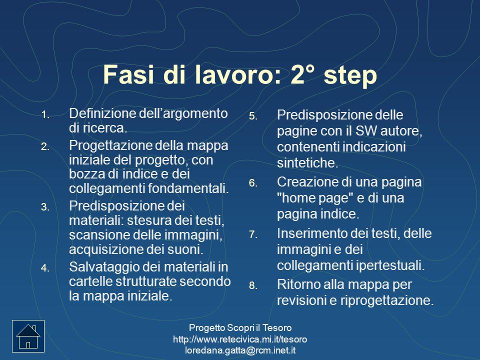 Fasi di lavoro: 2° step Definizione dell'argomento di ricerca.