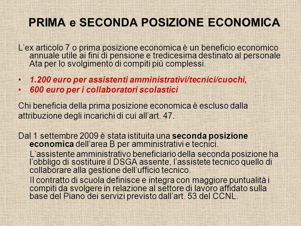 PRIMA e SECONDA POSIZIONE ECONOMICA