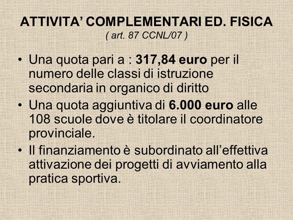 ATTIVITA' COMPLEMENTARI ED. FISICA ( art. 87 CCNL/07 )