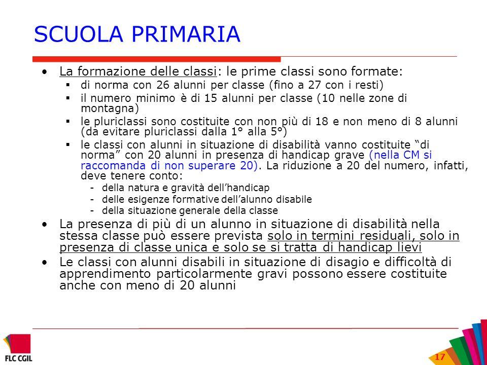 SCUOLA PRIMARIA La formazione delle classi: le prime classi sono formate: di norma con 26 alunni per classe (fino a 27 con i resti)