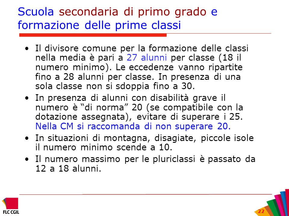Scuola secondaria di primo grado e formazione delle prime classi