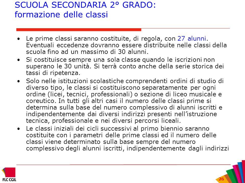 SCUOLA SECONDARIA 2° GRADO: formazione delle classi