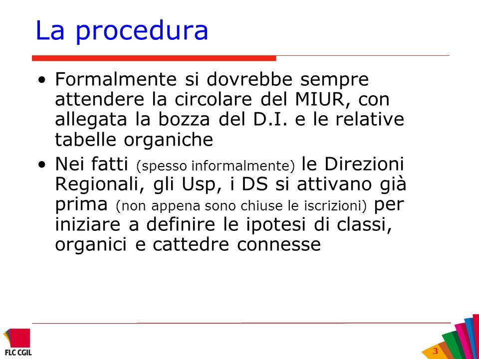 La procedura Formalmente si dovrebbe sempre attendere la circolare del MIUR, con allegata la bozza del D.I. e le relative tabelle organiche.