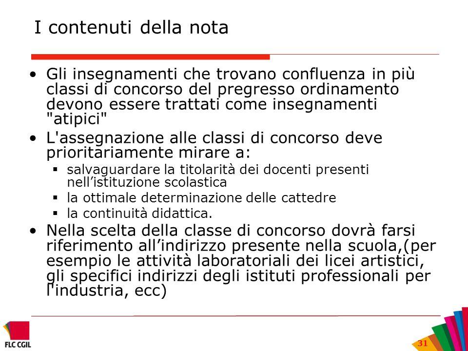 I contenuti della nota