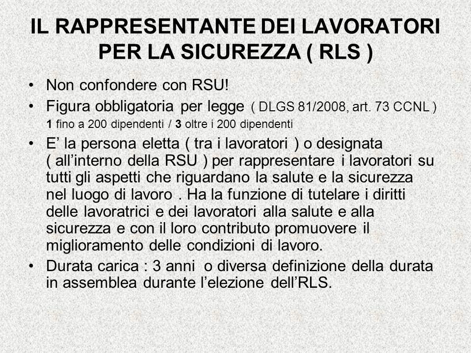 IL RAPPRESENTANTE DEI LAVORATORI PER LA SICUREZZA ( RLS )