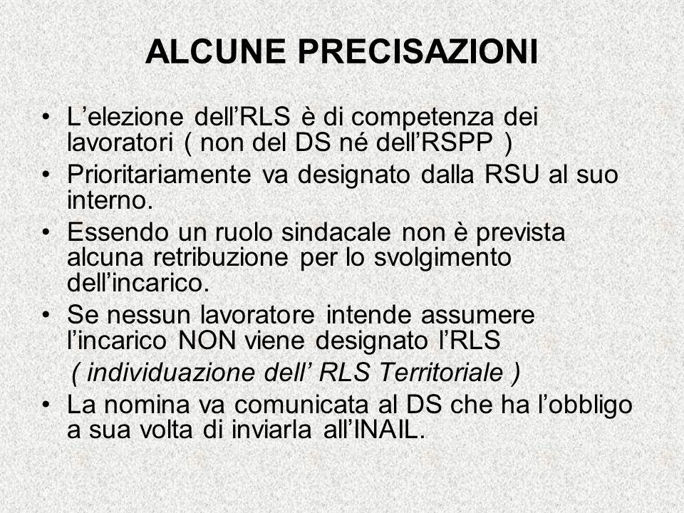 ALCUNE PRECISAZIONI L'elezione dell'RLS è di competenza dei lavoratori ( non del DS né dell'RSPP )