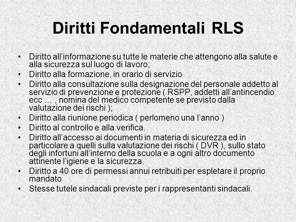 Diritti Fondamentali RLS