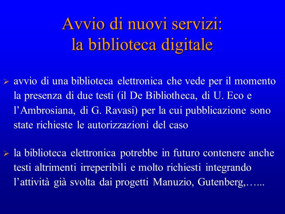 Avvio di nuovi servizi: la biblioteca digitale