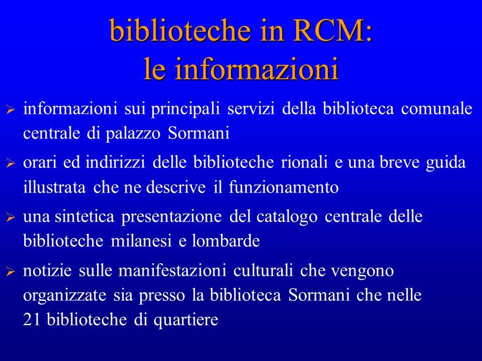 biblioteche in RCM: le informazioni