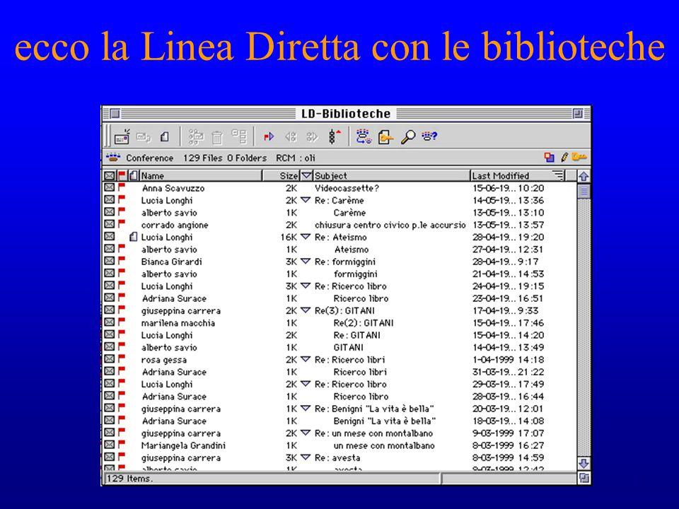 ecco la Linea Diretta con le biblioteche