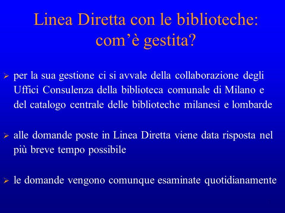 Linea Diretta con le biblioteche: com'è gestita