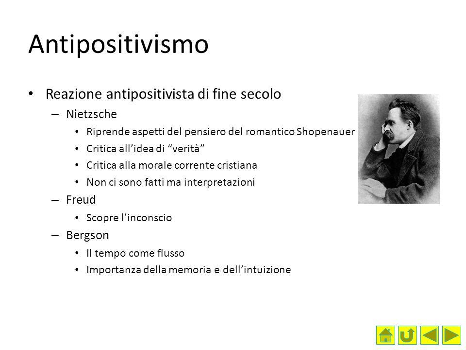 Antipositivismo Reazione antipositivista di fine secolo Nietzsche