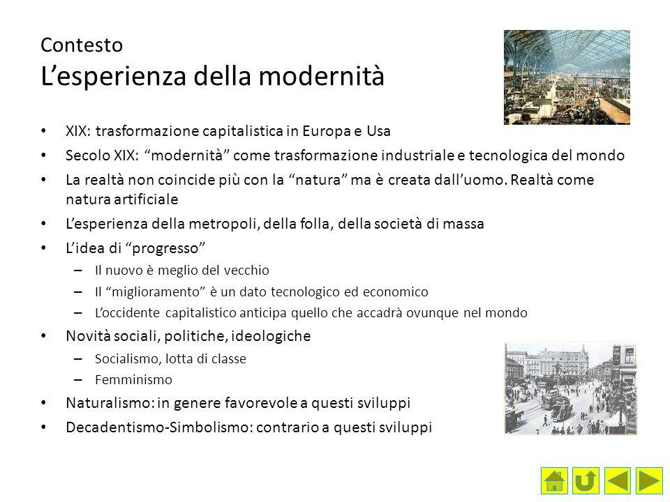 Contesto L'esperienza della modernità