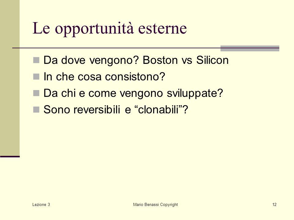 Le opportunità esterne