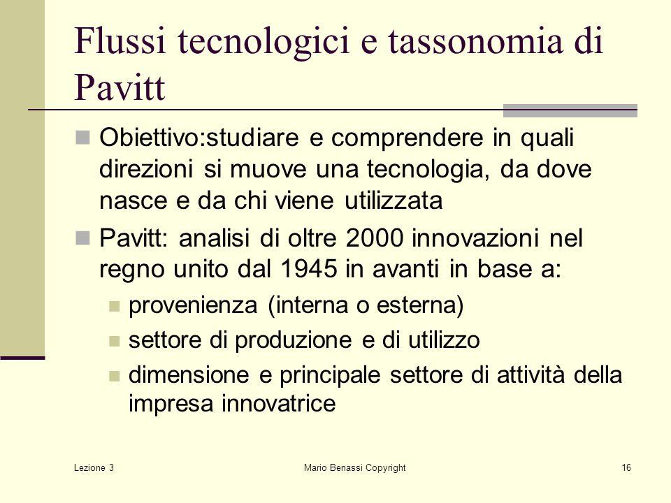 Flussi tecnologici e tassonomia di Pavitt