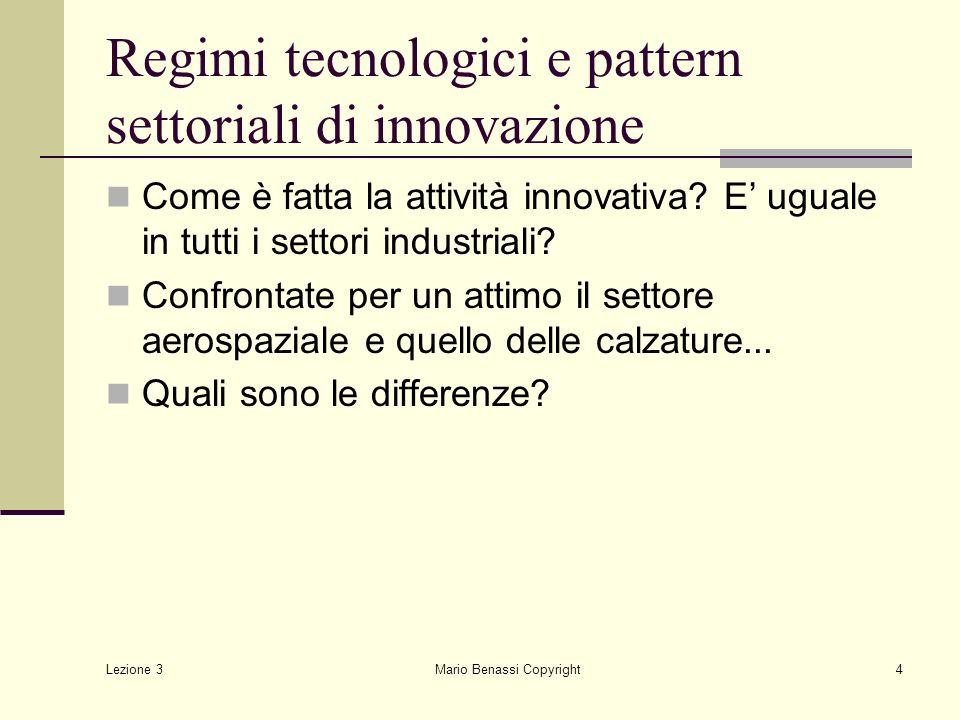 Regimi tecnologici e pattern settoriali di innovazione