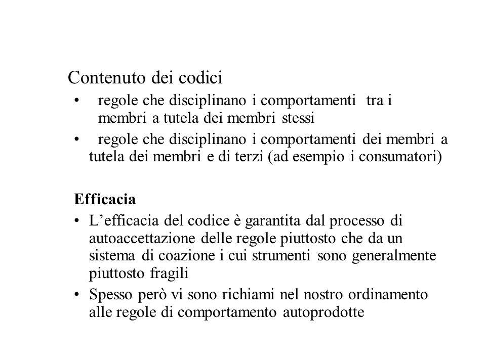 Contenuto dei codici regole che disciplinano i comportamenti tra i membri a tutela dei membri stessi.
