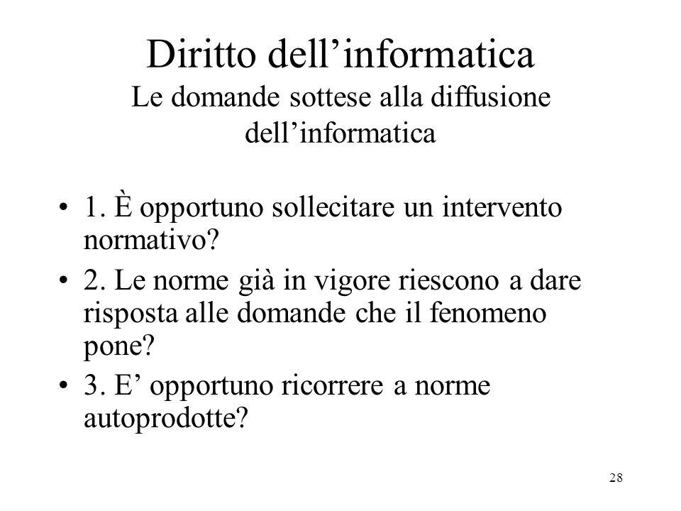 Daniela Redolfi Diritto dell'informatica Le domande sottese alla diffusione dell'informatica. 1. È opportuno sollecitare un intervento normativo