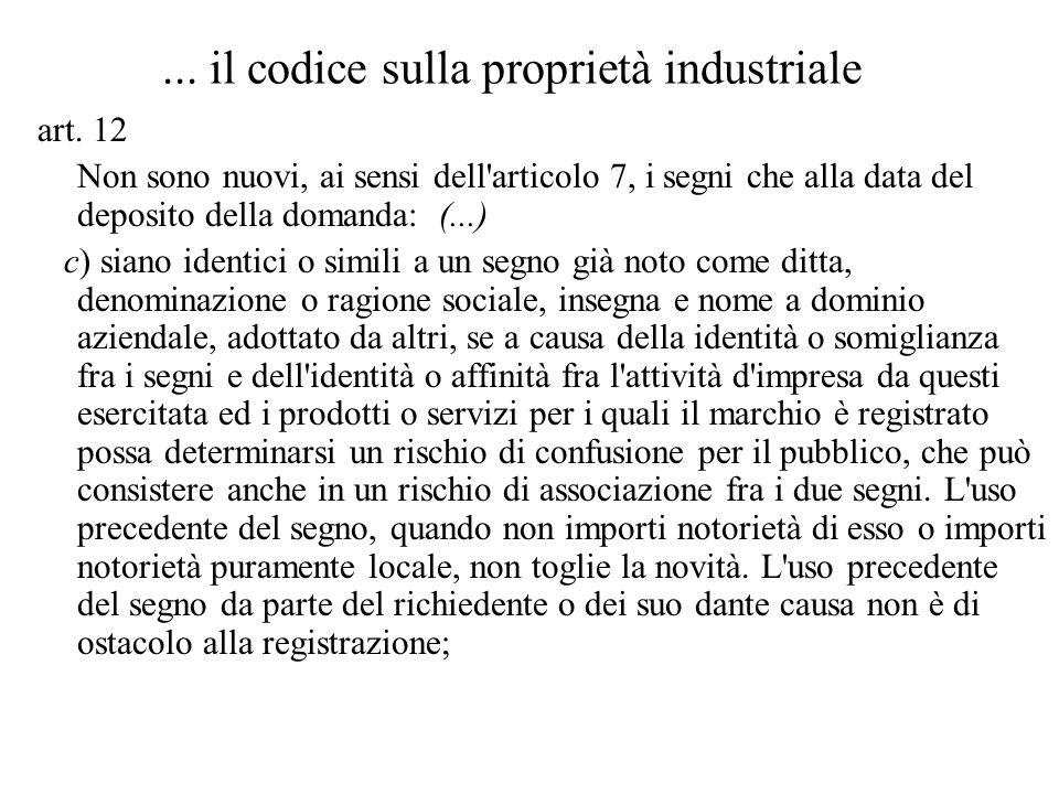 ... il codice sulla proprietà industriale