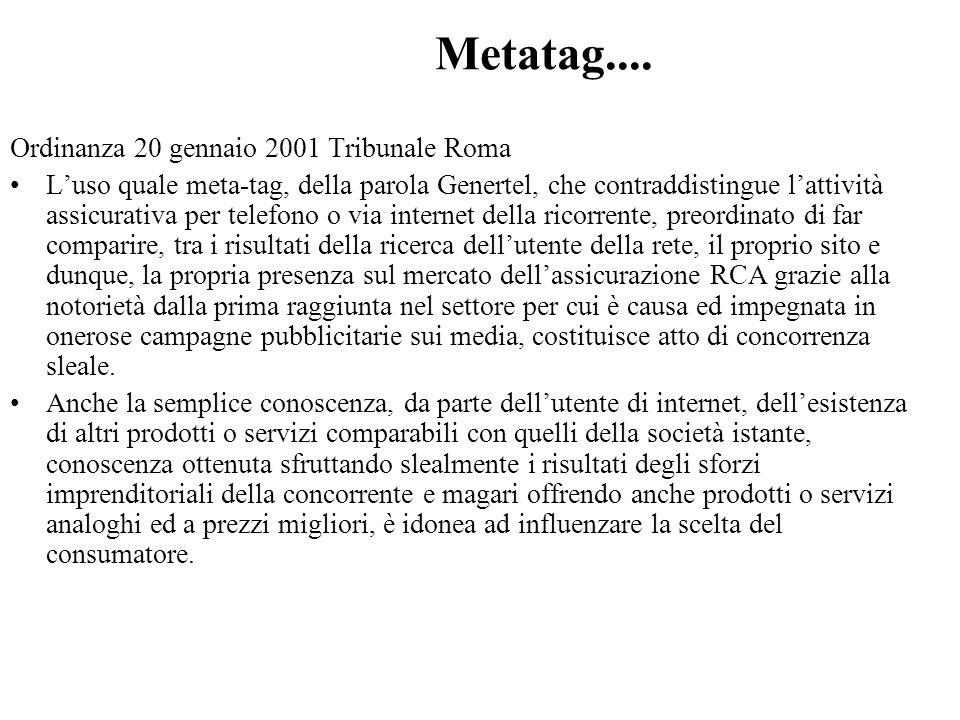 Metatag.... Ordinanza 20 gennaio 2001 Tribunale Roma