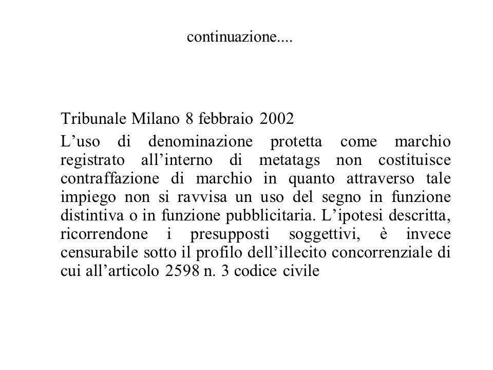 Tribunale Milano 8 febbraio 2002