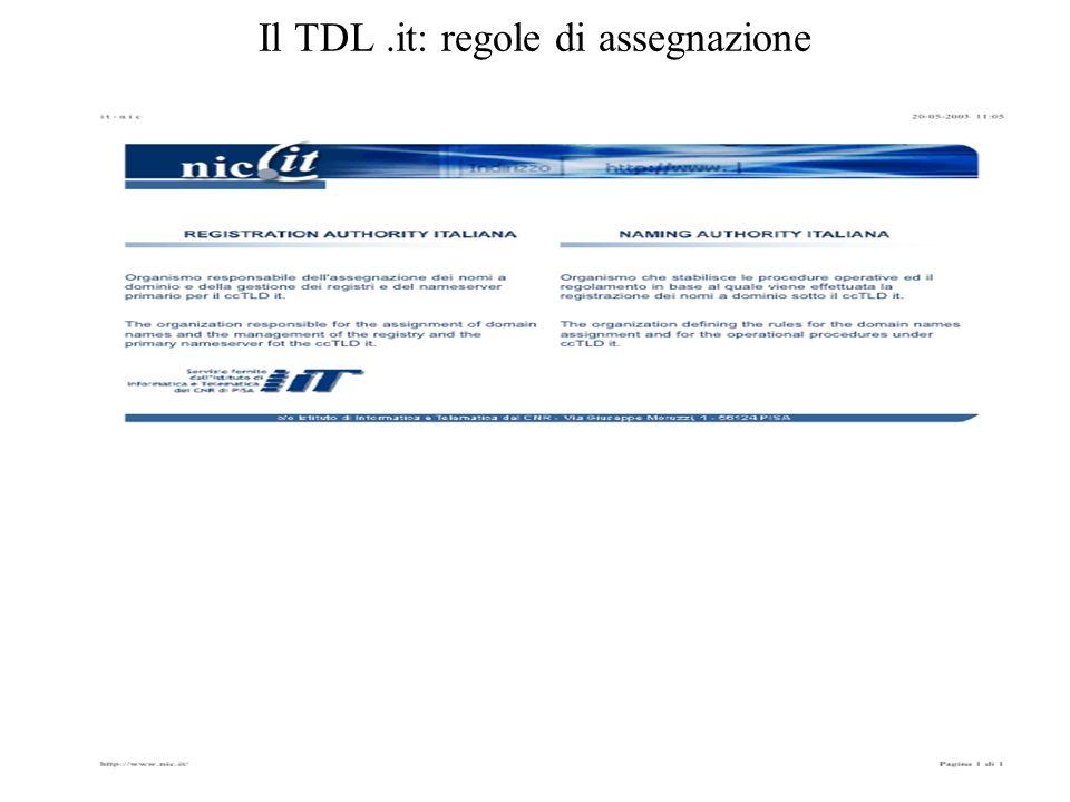 Il TDL .it: regole di assegnazione